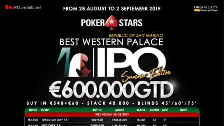 IPO Summer Edition: Italian Poker Open Launched in San Marino