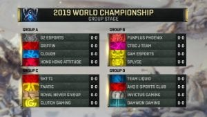 LoL: The Groups of the Worlds 2019